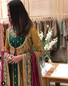 How festive does this faushia frenchnet shirt inspired with Mughal emperor. We love this beautiful festive collection by Bridal Dresses 2017 Pakistani, Indian Wedding Gowns, Shadi Dresses, Pakistani Wedding Outfits, Pakistani Dresses Casual, Pakistani Wedding Dresses, Pakistani Dress Design, Bridal Outfits, Pakistani Mehndi Dress