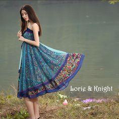 Bohemian 2-Ways Retro Ethnic Peacock Print Full Circle Boho Skirt Gypsy Summer Beach Maxi Skirt