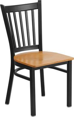 HERCULES Series Black Vertical Back Metal Restaurant Chair - Natural Wood Seat