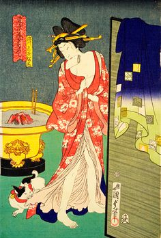 All she wanted to do was take a nice hot bath, but the kitten had other plans. No privacy at all. Japanese Cat, Japanese Culture, Asian Cat, Japanese Painting, Japanese Prints, Japan Art, Woodblock Print, Chinese Art, Traditional Art