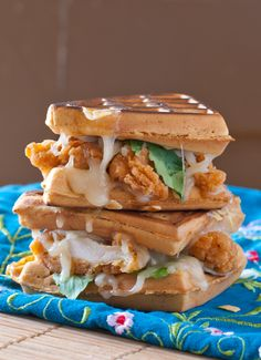 Chicken and Waffle Grilled Cheese Sandwich recipe. Great for breakfast or dinner. Super indulgent but totally worth it.