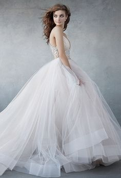 Lazaro - V-Neck Ball Gown in Tulle