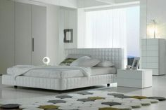 modern white eco leather bed design