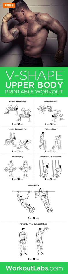 V-Shape Upper Body Printable Workout Plan for Chest, Shoulders and Lats – For a deep chest, wide shoulders and lats, this workout will give you the V-shape you're looking for.