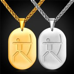 Take Jewelry, OFF ! Dog Tag Necklace For Men Sporty Jewelry Stainless Steel Charm Gold Plated Hockey Pendant & Necklace Men Necklace, Dog Tag Necklace, Pendant Necklace, Archery Sport, Packing Jewelry, Gold Chains, Dog Tags, 18k Gold, Gold Jewelry