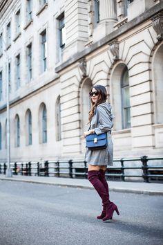 Double NYC :: Grey oversized silhouette & Emerald shirtdress :: Outfit Grey :: Jacket :: Marissa Webb Dress :: Velvet Shoes :: Stuart Weitzman Bag :: Celine Accessories :: Karen Walker sunglasses Published: October 19, 2015