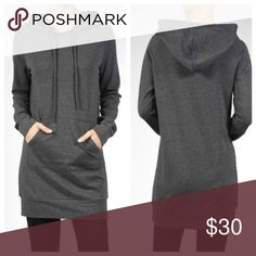 Hooded tunic ONLY SMALL LEFT Charcoal gray hooded front pocket dress PLEASE Use the Poshmark new option you can purchase and it will give you the option to pick the size you want ( all sizes are available) BUNDLE and save 10% ( no trades price is firm unless bundled) Dresses