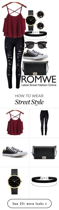 """""""ROMWE street style"""" by amyraines-1203 on Polyvore featuring WithChic, Chanel, Converse, Miss Selfridge and Irene Neuwirth"""