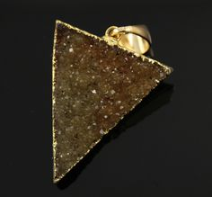 Large Druzy Triangle Pendant in Stunning Earth Tones, Heavy Gold Plated, 27x33mm, A+ Gorgeous Quality, Electroplated Edge (DZY/TRI/110) by Beadspoint on Etsy