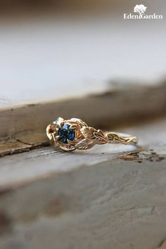 Sapphire engagement ring, branch ring, 14K yellow gold, wedding ring, leaves ring, proposal ring, gold promise ring, unique engagement ring