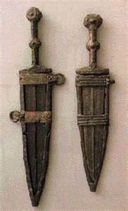 Two early style Roman pugios with Frame type sheaths, Type A tangs, and Type A…