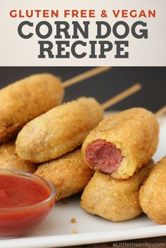 EASY Gluten Free & Vegan Corndog Recipe - So good! .... #glutenfree #eggfree #dairyfree #vegan #hotdog #veggiedog #anydog #recipe #fairfood #deepfried #corn