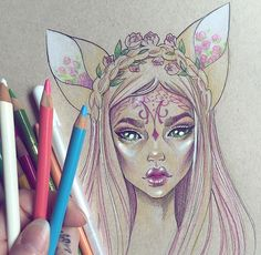 Illustrations Of Fantasy-Inspired Tattooed Girls By Gwen D'Arcy Fantasy Drawings, Fantasy Kunst, Fantasy Art, Kunst Inspo, Art Inspo, Art And Illustration, Drawing Sketches, Art Drawings, Drawn Art
