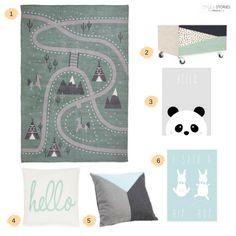 Kinderzimmerdeko in mint-blau-grau-grün Tönen <3 www.styleandstories.de