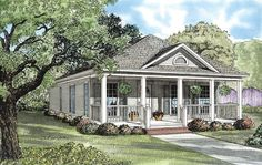 #Country #HousePlan 62096 | A swing would make the perfect addition to the covered front porch of this home. Entertain your guests in the great room or the nearby dining room. This step saver kitchen is sure to simplify everyday meal time, while the grilling porch at the rear lends outdoor options as needed. An attractive master suite and an additional bedroom complete this delightful design.