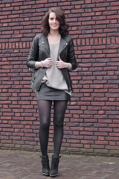 Motorcycle Jacket + Gray Sweater + Leather Mini Skirt + Black Sheer Tights + Black Ankle Boots