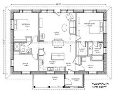 Eco Family 1400 Plan - Solar.  Simple, logical floor plan.  Love the utility/pantry.