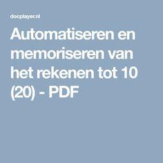Automatiseren en memoriseren van het rekenen tot 10 (20) - PDF
