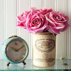 vintage clock and can...nice!!