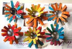 Saltwater kids had a great idea for making flowers from toilet paper rolls.