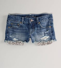AEO 's Sequin Pocket Denim Shortie (Sea Spray) from American Eagle Outfitters. Saved to Clothes. Short Outfits, Summer Outfits, Cute Outfits, Diy Outfits, Summer Clothes, Aeropostale, Vs Pink, Hollister, Miss Me