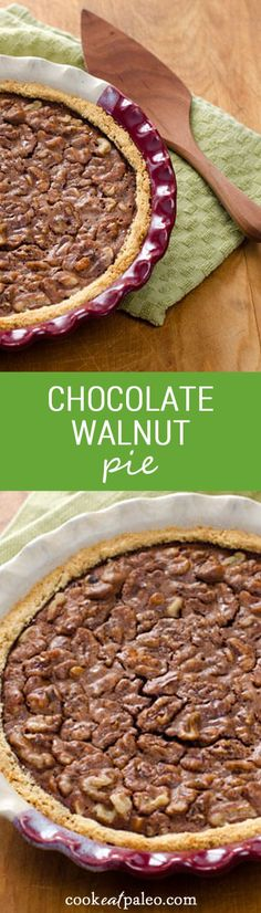 Chocolate walnut pie with a traditional derby day pecan pie variation - an easy and delicious gluten-free, grain-free treat. ~ http://cookeatpaleo.com