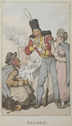 Rowlandson's characteristic Sketches of the Lower Orders, intended as a companion to the New Picture of London: consisting of fifty-four plates ... coloured.  - caption: ''Saloop', a popular beverage of the 18th century. Salop was served in coffee houses  and peddled on the street as alternative to coffee or chocolate.