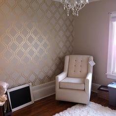 Wall stencil! I really like that the pattern is shimmery gold. Livingroom