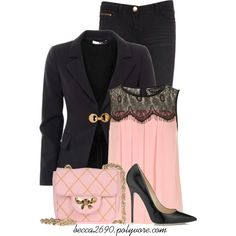 """""""Pale Pink & Black"""" by becca2690 on Polyvore. I'd prefer different shoe, this one's too high for me."""