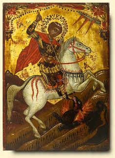 Saint George and the Dragon - exhibited at the Temple Gallery, specialists in Russian icons