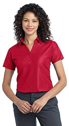 Port Authority Ladies Vertical Pique Polo Classic Red XXXXLarge -- More info could be found at the image url.
