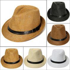 Unisex Braid Fedora Trilby Gangster Cap Beach Sun Straw Panama Hat