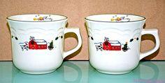 Pfaltzgraff Snow Village Flat Cup Mug Christmas Lot of 2 Coffee Tea Farm Angel #Pfaltzgraff
