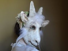 Wedding guests Animal head mask paper mache goat by MiesmesaBerni, $128.00