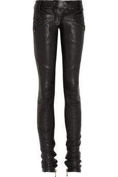 Balmain - skinny motorcross leather pant