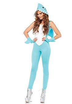 woman sexy deadly shark catsuit halloween costume from 30 - Halloween Costume Shark