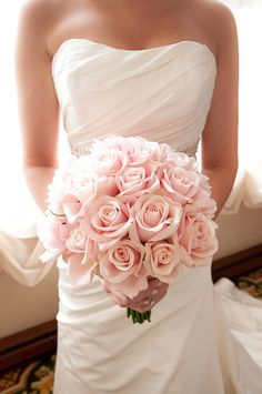 All pale pink rose bouquet. Bridal Bouquet.