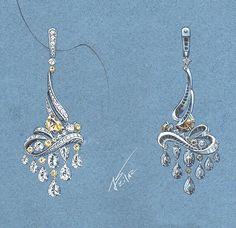 Moon, stars, wavesclouds. #azilaz #earring #chandelier #handdrawing #handsketch #jewelry #designer #designerjewelry