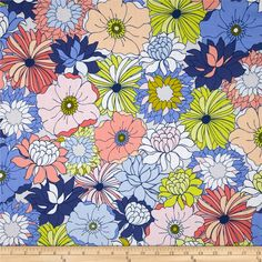 Designed by Art Gallery, this cotton print fabric is perfect for quilting, apparel and home decor accents. Art Gallery Fabric features 200 thread count of finely woven cotton. Colors include blue, navy, chartreuse, peach, coral and white.