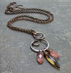 Antiqued Copper Metalwork Pendant Wire Wrapped by DesignsbyCher