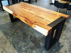 Suar wood modern cocktail table or bench with butterfly joinery & steel base  #cocktailtable