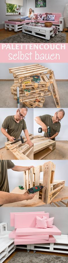 Paletten-Couch selber bauen You can build a whole living landscape yourself – it is cheap with pallets. The construction of the pallet couch is simple and therefore suitable for beginners. We show the construction of the pallet sofa step by step. Diy Furniture Couch, Diy Sofa, Pallet Furniture, Pallet Couch, Pallet Beds, Homemade Sofa, Diy 2019, Palette Diy, Diy Pallet Projects