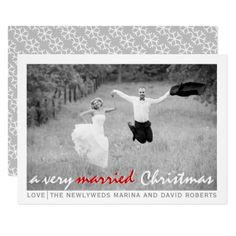 #Modern newlywed Christmas flat photo card - #Xmas #ChristmasEve Christmas Eve #Christmas #merry #xmas #family #kids #gifts #holidays #Santa
