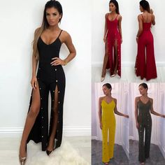 - Summer Women Button Long V Neck Bodycon Jumpsuit Rompers Playsuit Clubwear Split Bodycon Jumpsuit, Playsuit, Clubwear, Night Out, Rompers, V Neck, Formal Dresses, Outfit, Womens Fashion