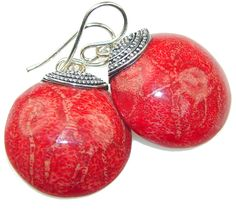 $32.15 True Love! Red Fossilized Coral Sterling Silver earrings at www.SilverRushStyle.com #earrings #handmade #jewelry #silver #coral