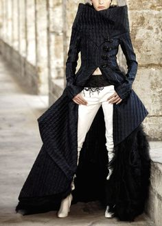 Chanel long black jacket coat