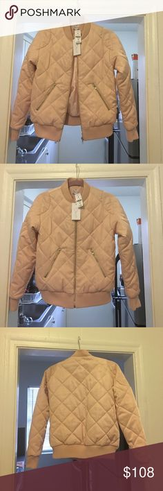 """NWT LF quilted bomber jacket in blush S Brand: ALOT. Purchased from LF boutique store. Quilted bomber jacket, has a full length zipper and 2 exterior pockets, round collar. Length: 24"""". Color: blush. Size: S. True to size. Light and warm one! Brand new with tags 🚫No trades, price is firm🚫 LF Jackets & Coats"""