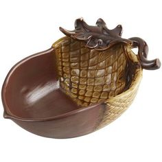 Harvest Acorn Bowl - Small - This bowl looks great for serving a side dish or dip at Thanksgiving!