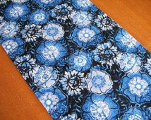 "Blue Table Runner - Reversible Runner - Lined Runner - Chevron Runner - Floral Table Runner - 12"" by 72"""