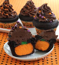 The ultimate chocolate cupcake stuffed with a CHEESECAKE pumpkin. - Hungry Happenings